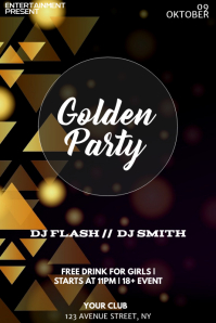 Golden Party night flyer template