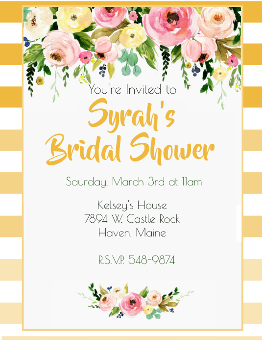 Golden Rod Ombre Bridal Shower Customize Template