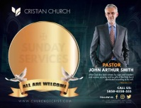 Golden Sunday Church Service Slideshow Flyer (format US Letter) template