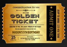 Golden ticket birthday invitation A6 template