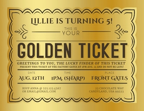 Golden Ticket Event Invitation Flyer (US Letter) template