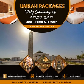 Golden Umrah Package Travel Ad Instagram Post template