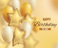 Golden White Realistic happy birthday ballons Mittelgroßes Rechteck template
