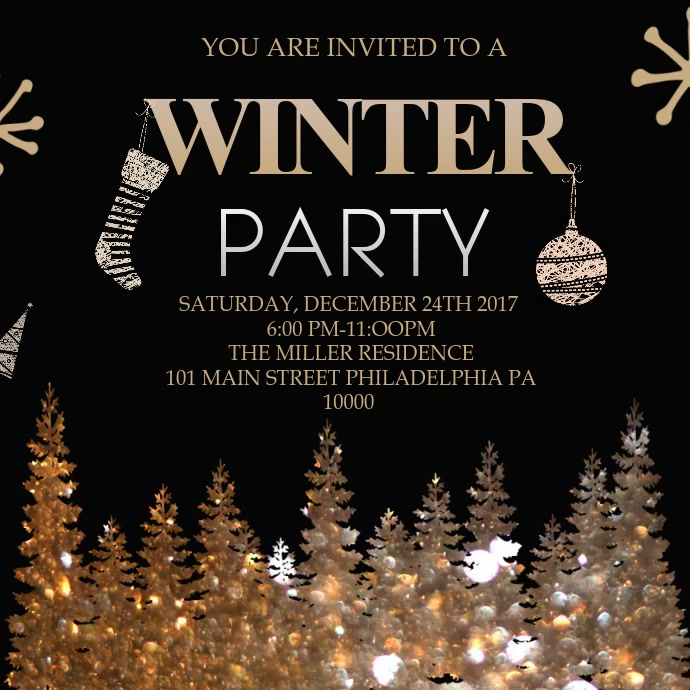 Golden Winter Party Video Template