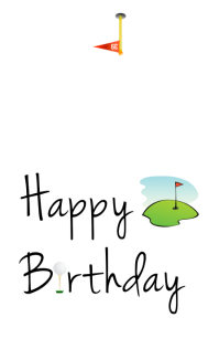 Golf Birthday Card Wide Setengah Halaman template