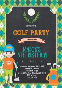 Golf birthday party theme invitation A6 template