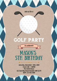 Golf birthday party theme invitation