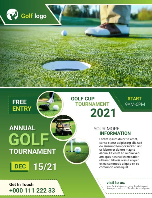 Golf flyer Løbeseddel (US Letter) template