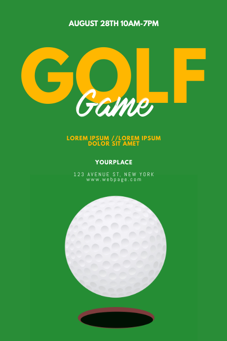 Golf Game Flyer Template Póster