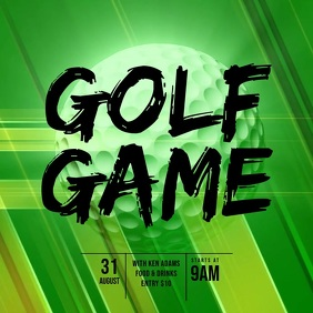 Golf game video template design Square (1:1)
