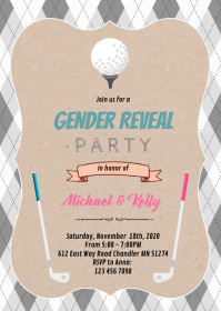 Golf gender reveal theme party A6 template
