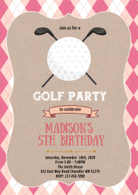 Golf girl birthday party theme invitation A6 template