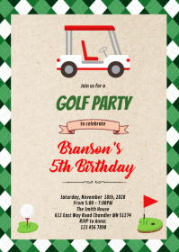 Golf hole in one birthday party A6 template