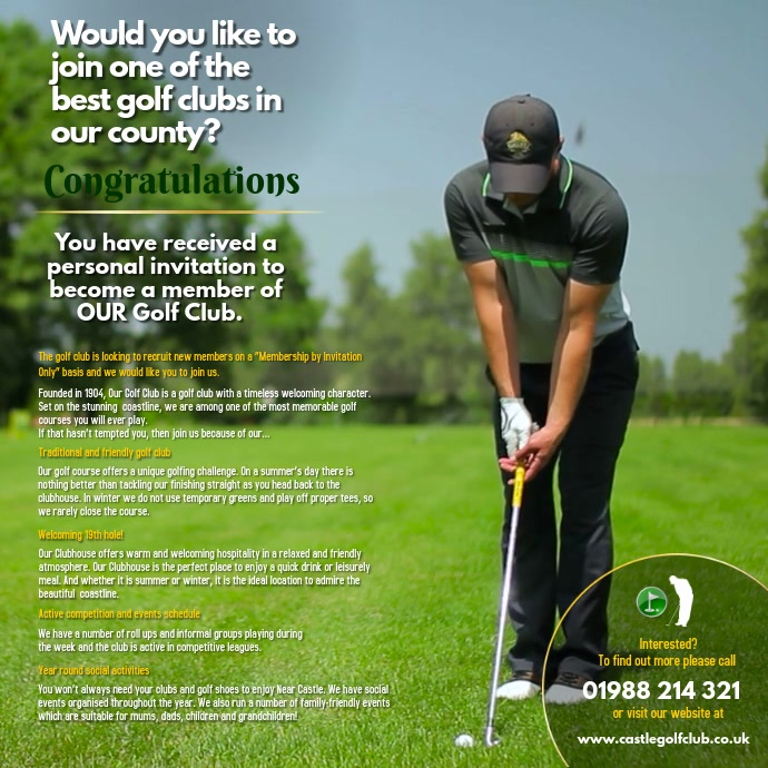 golf invitation template postermywall