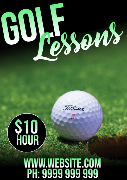 Golf Lessons A5 template