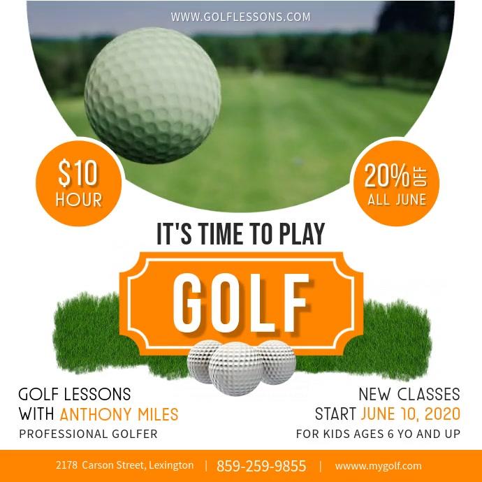 Golf Lessons Instagram post Persegi (1:1) template