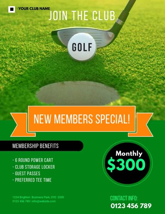 golf membership FLYER TEMPLATE Løbeseddel (US Letter)