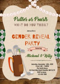 Golf or pearl gender reveal invitation A6 template