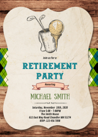 Golf retirement party invitation A6 template