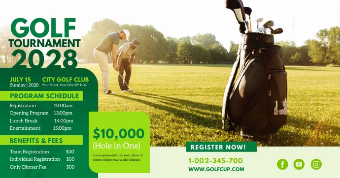 Golf Tournament Ad Facebook Shared Image template