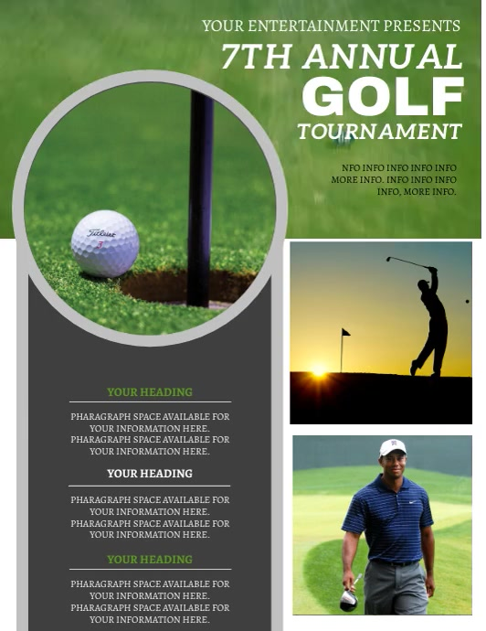 Golf Tournament Flyer ad Template Pamflet (Letter AS)