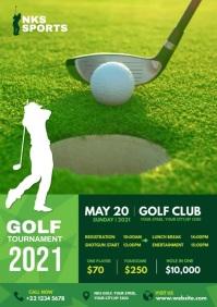 Golf Tournament Flyer Design A4 template