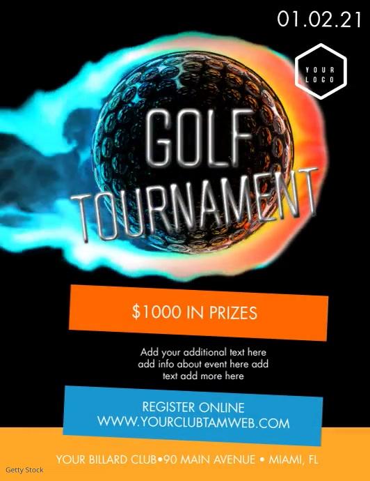 Golf Tournament Modern Video Flyer Templat Løbeseddel (US Letter) template