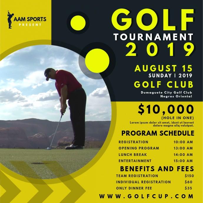 Golf Tournament Schedule Video Square (1:1) template