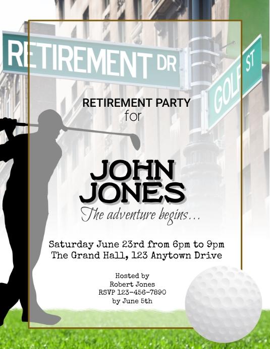 Golf Themed Golfer Retirement Party Template 传单(美国信函)