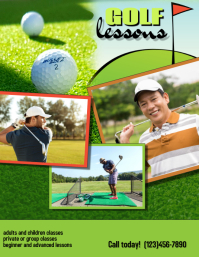 golfing golf lessons Flyer template