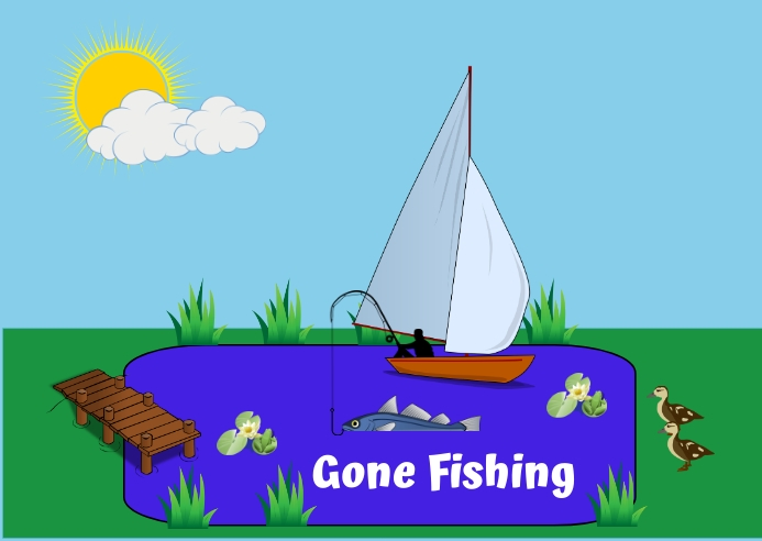 Gone Fishing Postcard template