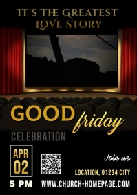 Good Friday Easter Service Video A4 template