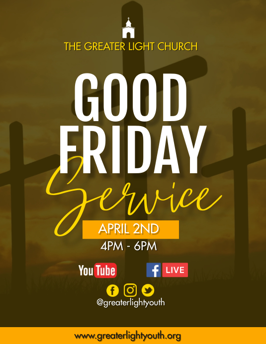 Good Friday Service Flyer (Letter pang-US) template