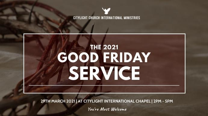 good friday service flyer Digital na Display (16:9) template