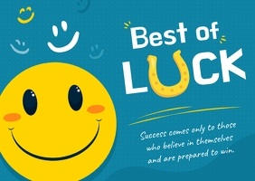 Good Luck Smiley Faced Postcard Открытка template
