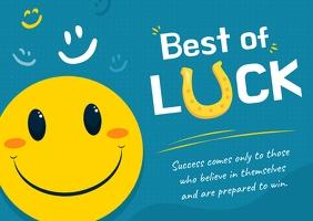 Good Luck Smiley Faced Postcard Poskaart template
