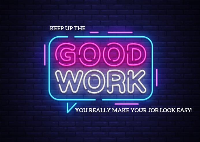 Good Work Postkort template