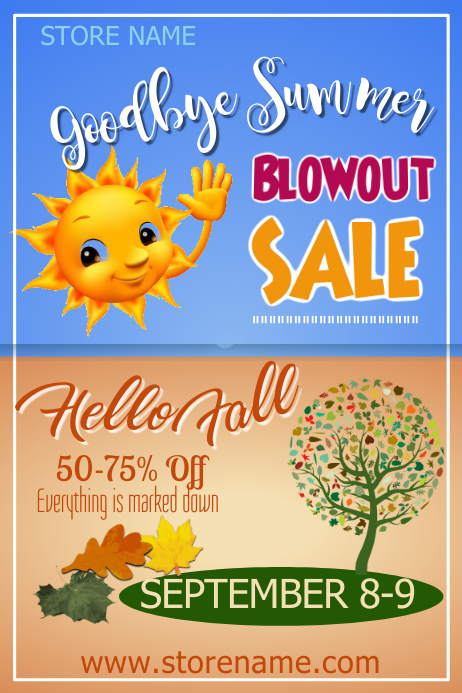 Goodbye Summer Blowout Sale Poster