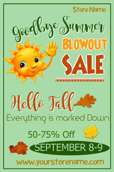 Goodbye Summer/Hello Fall Sale Poster Templat