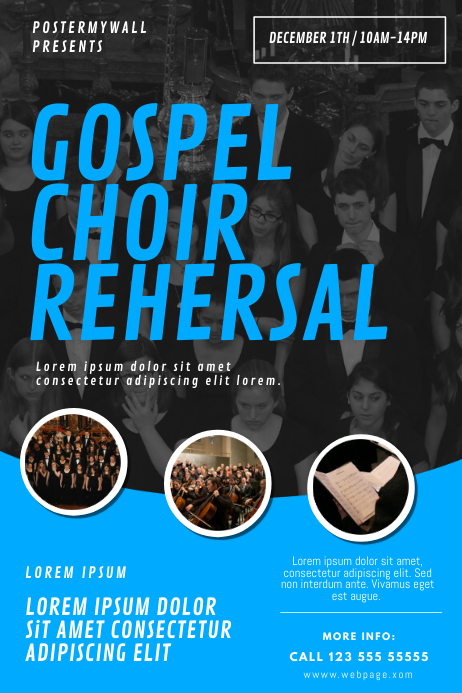 Gospel Choir Rehersal Flyer Design template Plakat