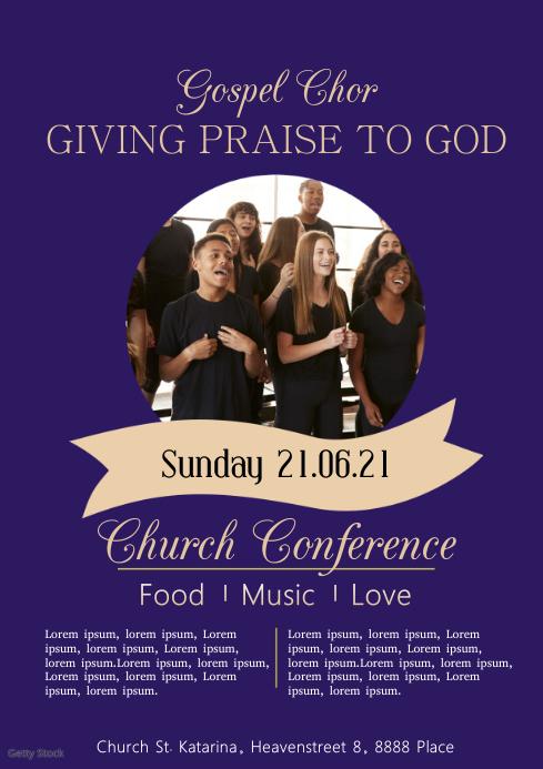 Gospel Chor Church Concert Flyer Pastors A4 template