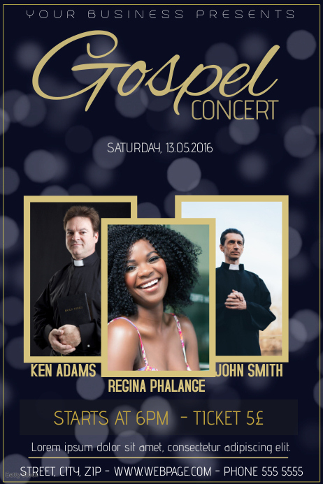 gospel concert church event flyer template