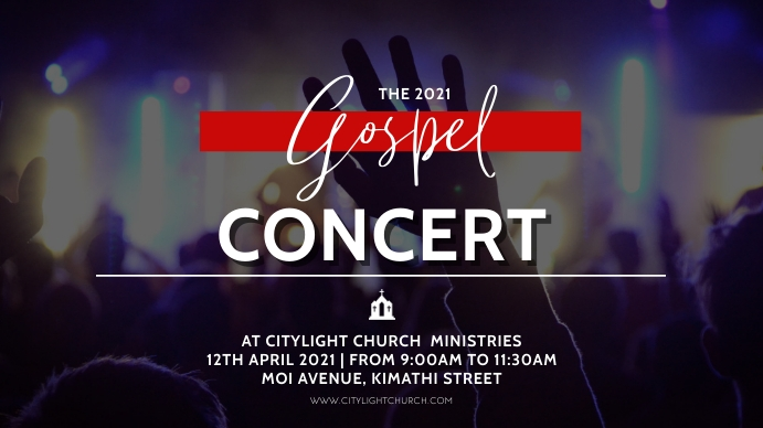 gospel concert church flyer Pantalla Digital (16:9) template