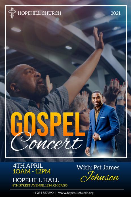 gospel concert flyer 海报 template