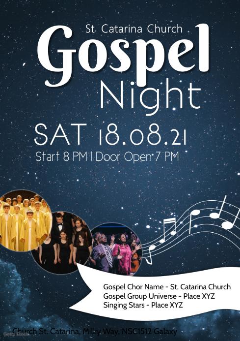 Gospel Concert Night Church Choir Singing Ad A4 template