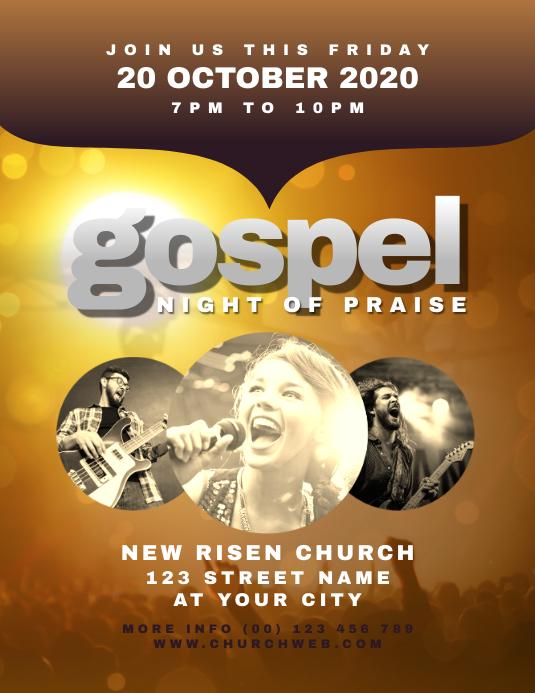 Gospel Night Church Flyer Volante (Carta US) template