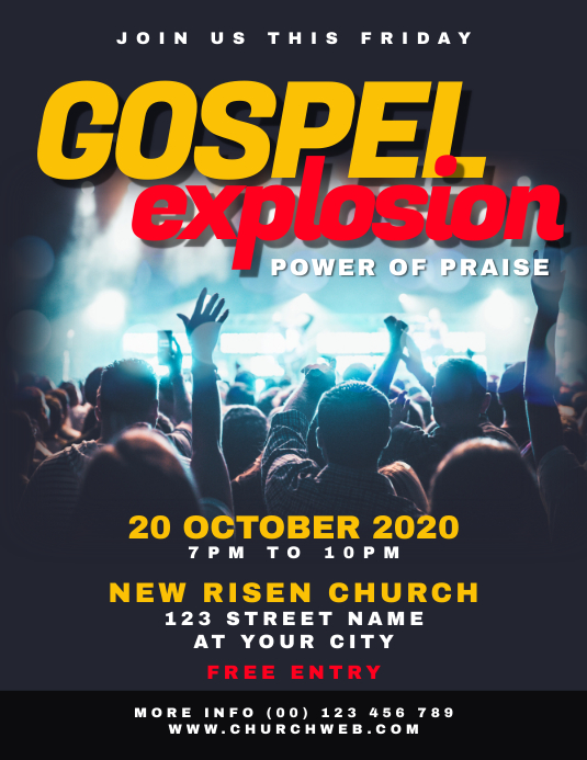 Gospel Night Concert Church Flyer Volante (Carta US) template
