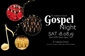 gospel Night concert church music singing ad Cartel de 4 × 6 pulg. template