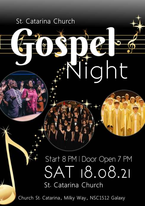 gospel Night concert church music singing ad