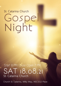 gospel Night concert church music singing ad A4 template